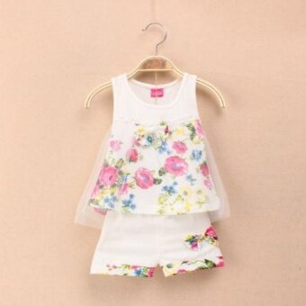 2PCS Infant Baby Floral Tulle Sundress +Shorts Clothing SetsOutfits for 0-24M girls - 3