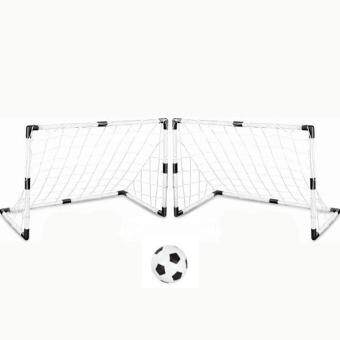360DSC Set of 2 DIY Youth Sports Soccer Goals with Soccer Ball and Pump Practice Scrimmage Game - White