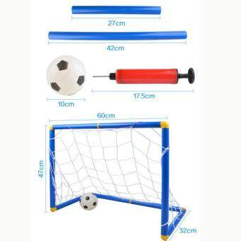 360DSC Small Size Kids Sports Soccer Goals with Soccer Ball and Pump Practice Scrimmage Game - Blue + White