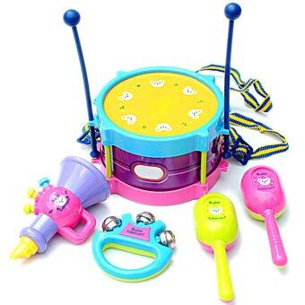 5pcs Kids Toy Set Roll Drum Musical Instrument Band Kit