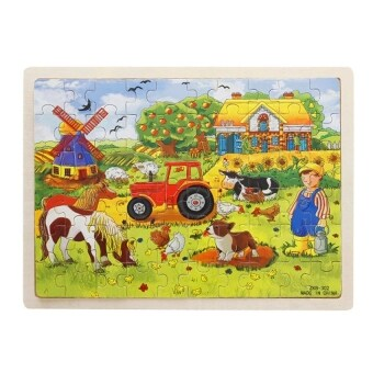 Harga 60-Piece Farm Wooden Jigsaw Puzzle Baby Kids Children EducationalToy