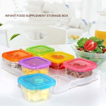 60ML 6 Piece Baby Block Set Baby Food Freezer Tray Food ContainersSprout Cups Reusable Stackable Storage Cups with Tray