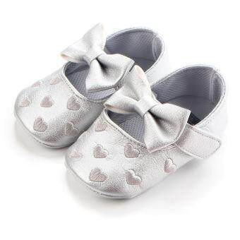 Ai Home Baby Toddler Firstwalkers Kids Prewalker Bowknot PrincessShoes (Silver)