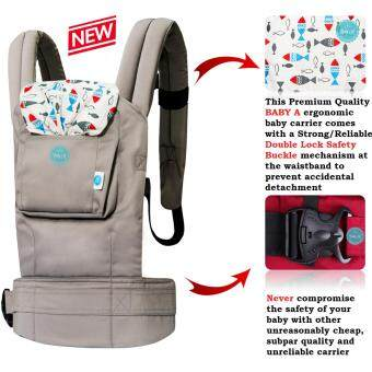 Harga BABY A-New LIMITED Edition Authentic Double Lock Ergonomic Baby Carrier with Back Support-AQUA Khakis
