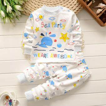 Bear Fashion Baby Boys Sea Star Whale Animal Clothing Kids 2Pcs Long Sleeve Top + Pant Clothing Set
