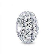 bling jewelry 925 sterling silver shamballa inspired white crystal bead charm
