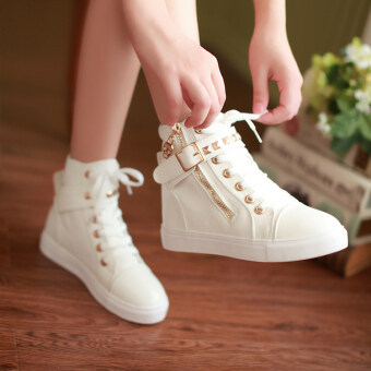 Children's high-top canvas shoes girls shoes Korean-style femalebig boy shoes tide high school students shoes 2017 autumn and NewStyle - 2