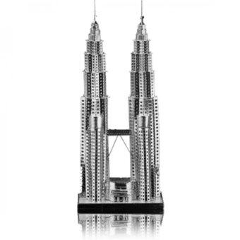 Creative Petronas KLCC Twin Tower 3d Metal DIY Puzzle - Silver