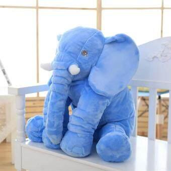 Cuddly Baby Kid Long Nose Elephant Animal Doll Soft Stuffed ToysPillow (Blue/40CM) - 4