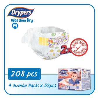 Drypers Wee Wee Dry M52 x 4packs (208 pcs)