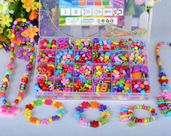 Emorefun Kids Beads Toy DIY Jewelry Beads for Bracelets NecklaceEducational Toy Rectangle Box Set of Dark Multicolor