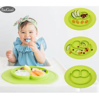 EsoGoal Baby Silicone Placemat Suction Plates One-Piece Feeding Dishes Bowl Oval Shape