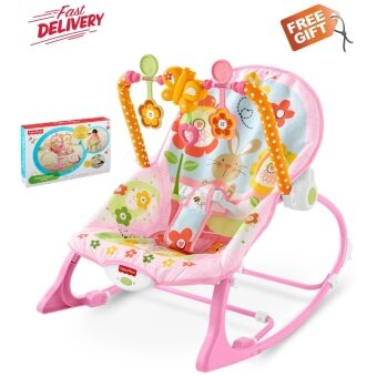 Fisher Price Infant To Toddler Rocker Pink Rabbit Sleeper Vibration Bouncer infant rocker music chair Fullmoon Birthday Gift