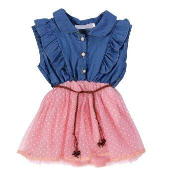 Harga Girls Baby Cute Princess Lace Dresses Denim Sleeveless Top TulleMulti Layer Dress(Pink)