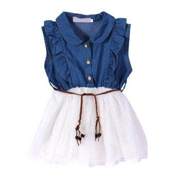 Harga Girls Baby Cute Princess Lace Dresses Denim Sleeveless Top TulleMulti Layer Dress(White)