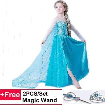 Harga Girls Cosplay Costumes Princess Children Anna Elsa Drozen Dresses