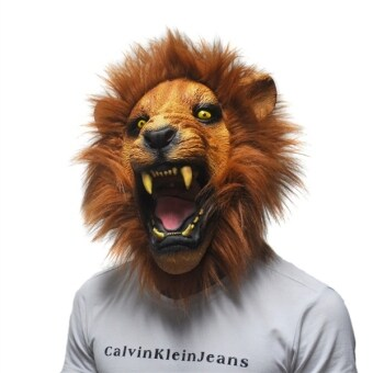 Harga Halloween Props Adult Angry Lion Head Masks Animal Full LatexMasquerade Birthday Party Face Mask Fancy Dress