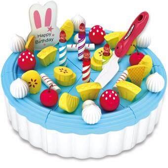 Happy Crc Kitchen Birthday CAKE PlaySet Children Portable Toy PlaySet Educational Toys Kids babies (Blueberry Cake)