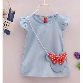Harga New Cute Little Baby Girl Summer Wearing Design Child Baby Kids Cowboy Dress Baby Wear Short Sleeved Skirt for Summer