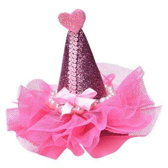 Harga Lace Hat Hair Clips Children Hair Accessories Kids Pearl Sequins Bow Hat Hairpin Rose