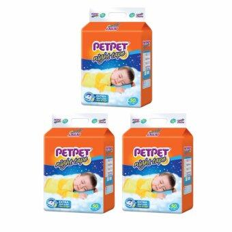 Harga Petpet Night Tape Mega Pack - Tape [ L Size 50pcs x3 packs ] (Petpet Night Tape Mega Pack Edition Diapers Pampers Nappies Lampin Baby Product) Buy 2 Free 1