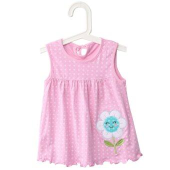 Harga Cute Jewel Collar Sleeveless Colorful Flower Animal Embroidered Flounce Baby Girls Cotton Dress