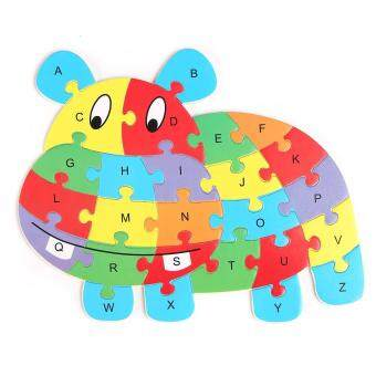 Harga Wooden Animal Shaped Jigsaw Puzzle 26 Letter Blocks Kids Learing Educational Toy Hippo