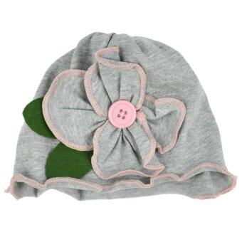 Harga Cute Baby Girl Kids Cotton Flower Hat Cap Soft (Grey)