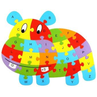 Harga Wooden Animal Alphabet Early Learning Puzzle Jigsaw Intelligent Toys Hippo