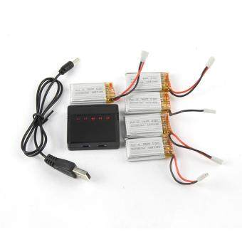 Harga 5pc 3.7V 350mAh Li-Polymer Battery +A Five Charger For JJRC H8/H31 RC Quadcopter Black