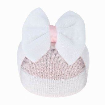 Harga EOZY Baby Big Bow Hat Knitted Caps (White)