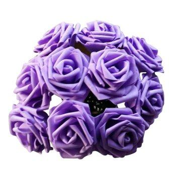 Harga Fancytoy 10Pcs Lot Rose Flowers Head Party Wedding Bridal Bouquet Decoration Posy (Purple)