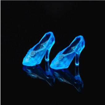 Harga Blue 10Pairs Imitation Crystal Shoes For Doll Shoes High Heels Sandals For Barbie Dolls Baby Toy