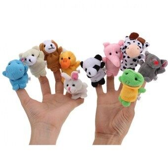 Harga YBC 10pcs Cartoon Animal Finger Puppet Plush Toys Child Baby Favor Biological Dolls