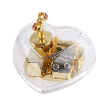 Harga BolehDeals Acrylic Heart Bowknot Clockwork Music Box Melody Box Kids Gift Kiss the Rain