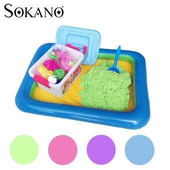 Harga SOKANO 2kg Coloured Kinetic Sand With Container, Molds And Inflatable Tray-Green