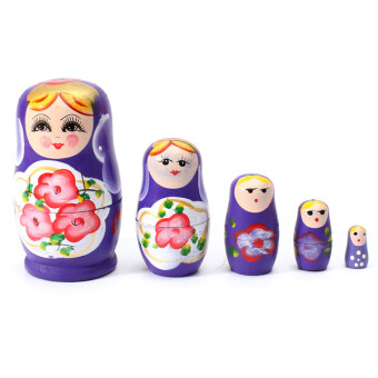 Harga 1 Set 5pcs Matryoshka Russian Nesting Dolls Toy Wooden Doll Girl Children's Toy Purple