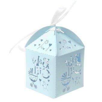 Harga MagiDeal 50Pcs Ribbon Gift Packing Box Candy Box Wedding Party Favor Baby Shower Blue