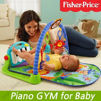 Harga Fisher Price Piano Gym Toddler GYM Giraffe Kick and Play (Blue)