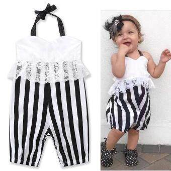 Harga Newborn Toddler Lace stripe backless jumpsuits Baby Newborn Clothes Toddler Girls Costume Sleeveless Summer kids Camisole dress