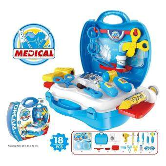 Harga Good Service Medical Kit Playset Medical Box Doctor Set for Kids Children Pretend Play Tools Toy 18 Piece Blue
