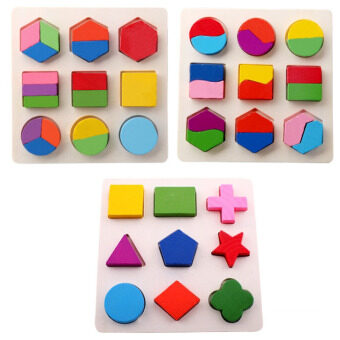 Harga Fancytoy Kids Baby Educational Toy Wooden Geometry Block Puzzle Early Learning