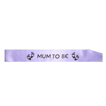 Harga Baby Shower Party Satin Sash Banner Mum To Be/Grandma/Auntie/Nanny/Big Sister Purple+Black Words