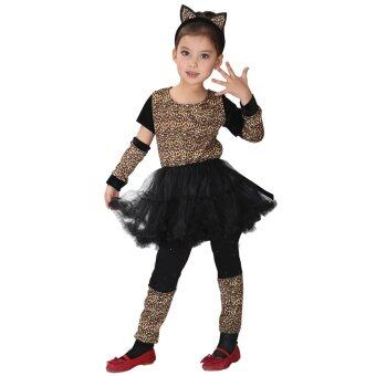 Harga EOZY Girls Halloween Animal Cosplay Leopard Girl Costume With Tail Children's Stage Performance Dress -XL