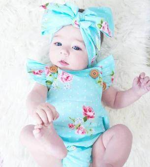 Harga New Adorable Baby Girls Floral Romper Bodysuit One-pieces Summer Clothes Sunsuit Set -Light blue