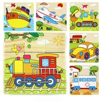 Harga 9 Parts Kids Puzzle Wooden Toy Cartoon 3D Puzzle Blocks 6 Side Painted Dimensional A5-