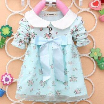 Harga spring summer long sleeve bow knot flower girls cute cotton dress baby girl dresses