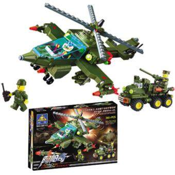 Harga KAZI Apache Longbow Helicopter Army Assault Team Building Blocks Military Toys Child Birthday Gifts