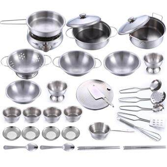 Harga 360DSC 32Pcs Stainless Steel Kids House Kitchen Toy Cooking Cookware Children Pretend & Play Kitchen Playset - Silver