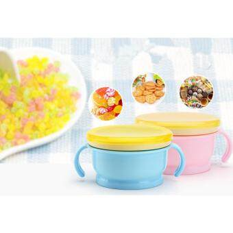 Harga New Design baby Snack jars Anti-spill food storage box Double handle Lovely children Snak cup Pink and Blue